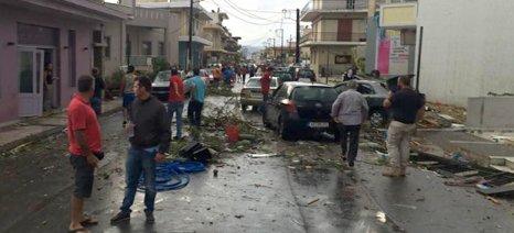 Μεγάλες ζημιές από ανεμοστρόβιλο στη Λακωνία