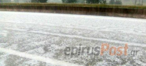 Χαλάζι στα Ιωάννινα, έντονες βροχοπτώσεις και πλημμύρες στην Κοζάνη την Κυριακή