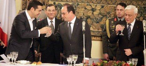 Δείπνο με ελληνικά κρασιά για τον Ολάντ από τον Πρόεδρο της Δημοκρατίας