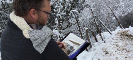 Ο Αυστραλός Jason Roberts ζωγραφίζει την Ελληνική Βραχυκερατική φυλή στην Αργιθέα Καρδίτσας