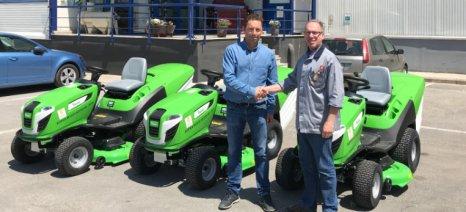 Η Μύλοι Λούλη δώρισε τρία αυτοκινούμενα χλοοκοπτικά μηχανήματα στον Δήμο Αλμυρού