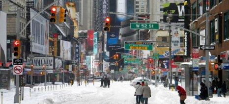 Σκηνικό από ταινία θυμίζει η παγωμένη Νέα Υόρκη