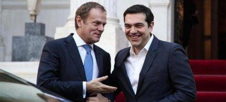 Συνάντηση Τσίπρα-Τουσκ: Συμφωνία την Παρασκευή ή σύγκληση Συνόδου των κρατών-μελών του ευρώ